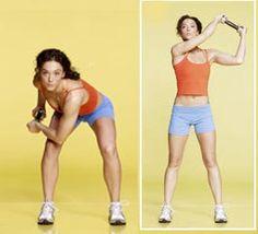4- Barrido en cuclillas    barrido en cuclillas Abdomen plano en cuatro semanasDe pie, con las piernas separadas a la anchura de la cadera, sostener una mancuerna por los extremos con ambas manos.    Flexión: Flexionar las rodillas llevando simultáneamente el codo izquierdo a la rodilla derecha.    Extensión: Extienda hacia arriba los brazos, rotando los brazos en diagonal hacia el lado contrario hasta llevar la mancuerna por sobre el hombro izquierdo.    Hacer 15 repeticiones, cambia de…