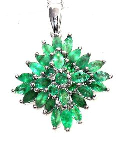 2.50ctw  Natural Zambian Emerald Marquise Pendant with chain  #Unbranded #Pendant