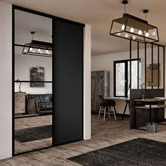 Façade de placard coulissante 2 portes miroir argent, décor noir intense | Kazed