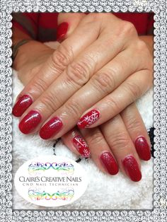 CND Shellac Wildfire layered with Ruby Ritz and Sizzling Sand Additive and White Moyou Snowflake Stamping on little fingers. By Claire's Creative Nails, Northampton. Call or text: 07752 397245 to book your appointment. #shellac #northampton #nailsalon #nailart #cnd #christmasnails