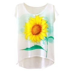 Fashion Sunflower Graphic Cap Sleeve Loose Fit Tee (130.820 IDR) ❤ liked on Polyvore featuring tops, t-shirts, shirts, white, loose fit t shirts, white shirt, loose shirts, white graphic t shirt and graphic t shirts