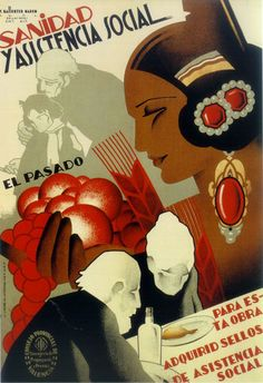 Spain. By Vicente Marco Ballester, 1937, Sanidad y asistencia social, (buy stamps to fund welfare), Republican poster Spanish Civil War