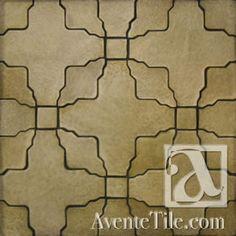 Clay Arabesque Alcazar Bisque Paver Hand Painted Ceramic Tile