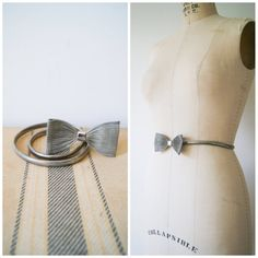 Vintage Bow Belt Silver Metal Mesh Elastic Waist Belt 80s Skinny Belt Small / Medium.