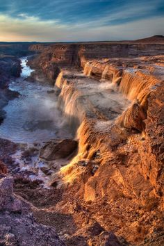 Grand Falls, Navajo Nation, Arizona, is a natural waterfall system located 30 miles northeast of Flagstaff.