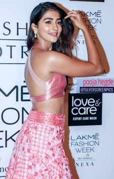 Pooja Hegde Gorgeous In Pink Embroidered Lehenga At Lakme Fashion Week 2019 - Logo & Taglines South Indian Actress Hot, Indian Actress Hot Pics, Indian Bollywood Actress, Bollywood Girls, Beautiful Bollywood Actress, Beautiful Actresses, Actress Pics, Tamil Actress, Beautiful Celebrities