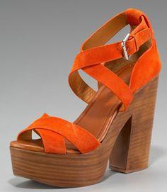 Ralph Lauren chunky heel in Orange