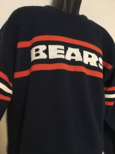49ebb8639 Vtg NFL Authentic Pro Line Chicago Bears Sweater Mens L Blue Wool Blend EUC   NFLAuthenticProLine