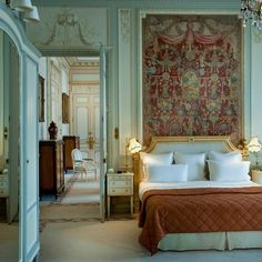 "thefoodogatemyhomework: ""Suite at the Ritz, Paris. Turquoise Louis XV style paneling right out of my dreams. """
