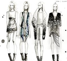 Fashion Sketchbook - fashion illustrations; fashion sketches; fashion portfolio // Chelsey Burgess