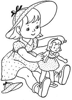 Vintage Colouring In - playing with dolls