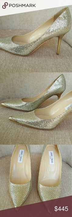 Jimmy choo Silver Tone Glitter Agnes Pumps US 10 / Euro 40.  Fits half a size smaller.  New never worn.  Very faint scuffs on tips.  Unnoticeable.  No box or dustbags.  Heels 3.75 inches Jimmy Choo Shoes Heels