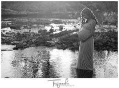 Black and white maternity photos. Maternity photos in a creek, water maternity photos. Maternity dress. Photography by Taqueesha