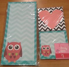 New to RedGarageDoor on Etsy: Target Dollar Spot Owl Heart Teal Chevron Magnet List Pad Sticky Notes Set New (6.50 USD)