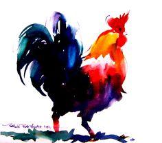 Pat Weaver Watercolor - Rooster