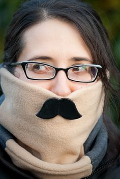 Leather Mustachioed Fleece Neck Warmer.