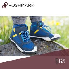 PLAE Kaiden waterproof dark blue sneaker boot the mini-mountaineer, this hiking shoe is for the kid who hungers for new heights!  features:  material - full grain leather / nylon; waterproof. shoe is customizable with interchangeable tabs (velcro straps). each pair comes with original matching tabs. PLAE Shoes Sneakers