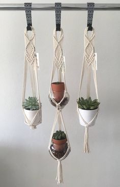 Our handcrafted plant hangers are made from a durable fiber (Polyolefin) that makes them suitable for indoor and outdoor use. Porch, balcony, patio or your bedroom… they will brighten up any room! You can get these macrame plant hangers as a set of three or individually. Measurements: