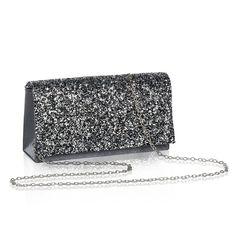 Womens Flap Dazzling Evening Clutch WALLYN S Party Handbag Shining Wedding  Purse with Detachable Chain - Charcoal - C3182YYZU0R. Women s Clutches ... 8e509a92556c5