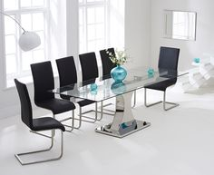 Athena 160cm Glass Extending Dining Table with Malaga Chairs.