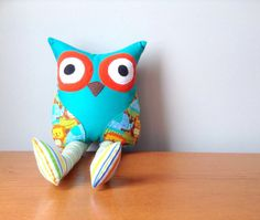 Green Animal Print Striped Owl Plush Owl, Owl Pillow with Legs, Owl Plush, Plush Owl, Owl Decor, Home Decor, Animal Pillows, Nursery Decor, Kids Room Decor, Gifts for Owl Lovers, Woodland Animals