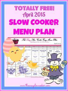 Totally FREE slow cooker menu plan for April