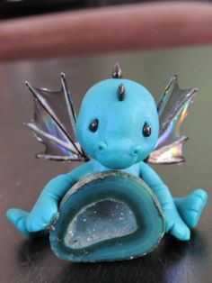 OOAK Polymer Clay Hand Sculpted Baby Turquoise Dragon on His Geode Crystal | eBay