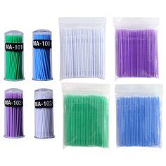 100 pcs/lot Micro Durable Jetable Extension de Cils Individuels Applicateurs Mascara Brosse Pour Femmes Cils Colle De Nettoyage Bâton