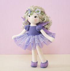 Amigurumi crochet DOLL  Sweet lilac fairy with tutu skirt