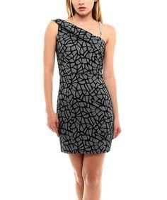 Love this Black & Gray Lattice Asymmetrical Dress on #zulily! #zulilyfinds