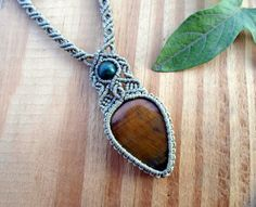 Tigers eye macrame necklace macrame pendant by SelinofosArt