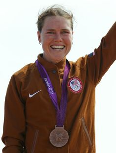 Bronze medallist Georgia Gould of the U.S. pose with her medal after the women's Cross-country mountain bike cycling event at Hadleigh Farm during the London 2012 Olympic Games, August 11, 2012.