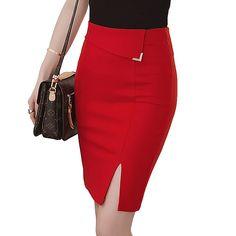 Online Shop 5XL Plus Size Slim Saia 2017 Summer Elastic jupe crayon Side  Slit Mini High Waist Pencil Skirts Womens C316