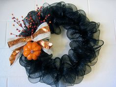 Black Fall DecoMesh Wreath by SarahnDippitie on Etsy, $40.00