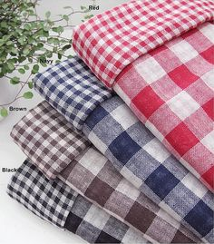 Double-layered Cotton Linen Gauze Fabric Plaid in by BonitaFabric