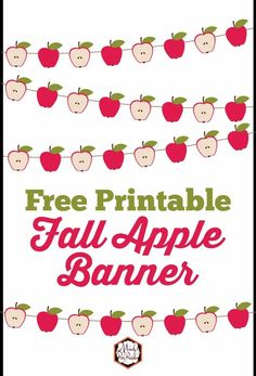 Free Printable Fall Apple Banner | Perfect for Thanksgiving | Mandy's Party Printables