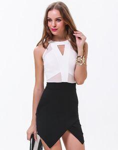 White Sleeveless Hollow Slim Bodycon Dress