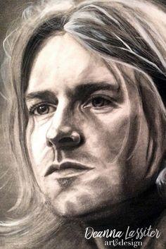 Kurt Cobain Nirvana realistic charcoal portrait