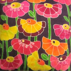 Crazy Daisies - painted silk pillow