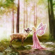 The Princess and the Reindeer, Fairytale Art Print, Pink Green Fantasy Illustration Earth Spirit, Fairytale Art, Merry Christmas To All, Fantasy Illustration, Fantasy Creatures, Beautiful Artwork, Pretty In Pink, Pink And Green, Reindeer