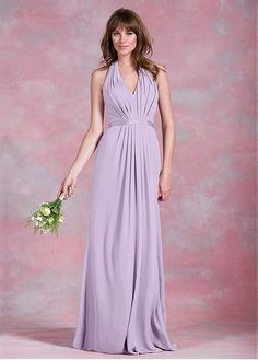 8e8b71b7dd Magbridal Exquisite Chiffon Halter Neckline A-line Bridesmaid Dresses With  Belt