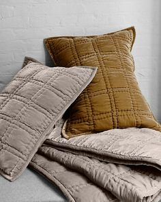 Eileen Fisher Hand-Stitched Velvet Quilt and Sham