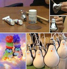 How to DIY Light Bulb Ornament – Penguin tutorial and instruction. Follow us: www.facebook.com/fabartdiy