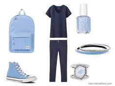 Wearing Unflattering Colors: Pastel Blue and Green - The Vivienne Files Mint Nail Polish, Pastel Sky, The Vivienne, Blue Orchids, Knit Pants, Blue Accents, Carven, Blue Topaz, Betsey Johnson