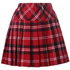 Girl`s Plaid Elasticated Pleated Skirt School Uniform Costumes ❤ liked on Polyvore featuring costumes, ladies halloween costumes, lady costumes, womens costumes, lady halloween costumes and red costume