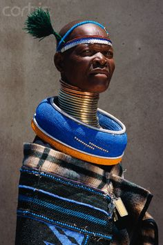 Ndebele Woman Wearing Neck Band and Neck Ring