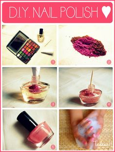 Make your own Nail Polish with old eye shadow