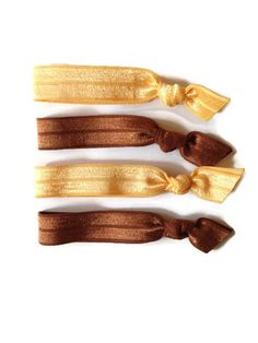 Hair Ties Butterscotch Yellow Brown Set of Four - No Crease - Girls Elastic Bands and Bracelets
