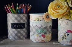 """""""We made piggy banks, pencil holders, and vases out of leftover formula cans (we had a lot of formula cans!) The piggy banks were a huge hit for gifts. We wrapped them in colorful paper, trimmed them with ribbon, and cut a slit in the top for coins!"""" — Kayla of Only Slightly Neurotic Get Kayla's piggy bank or pencil holder instructions>>"""