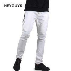 fashion jeans pants men street white color hip hop fitness mens slim pants skirt pants men clothing